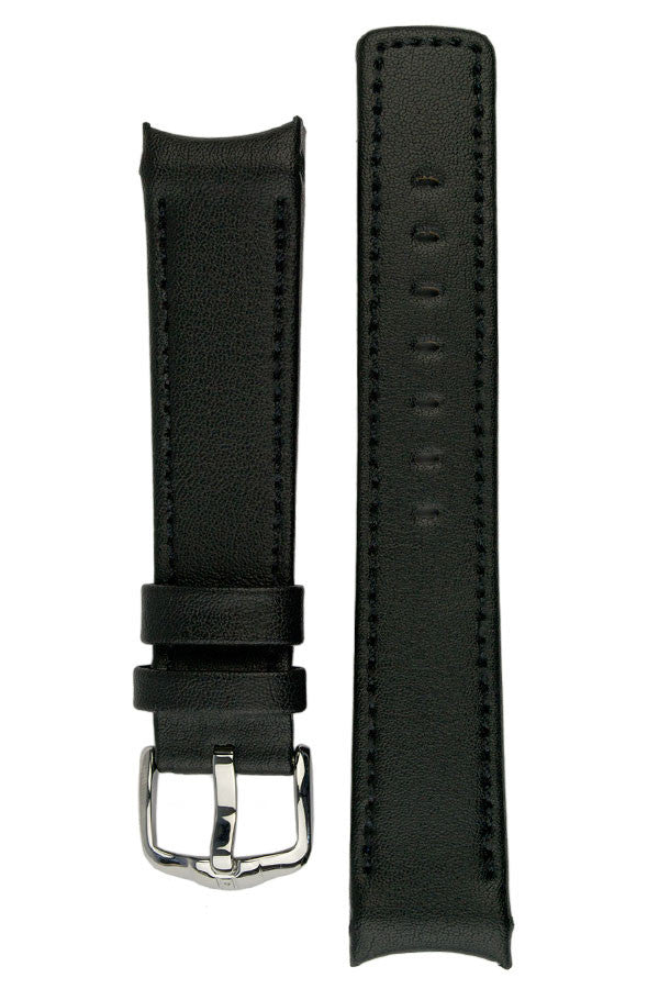 Hirsch Leonardo Heavy Calf curved ended watch strap in black