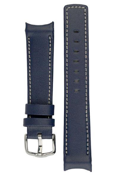 Hirsch Leonardo HEAVY CALF Curved Ended Watch Strap in BLUE