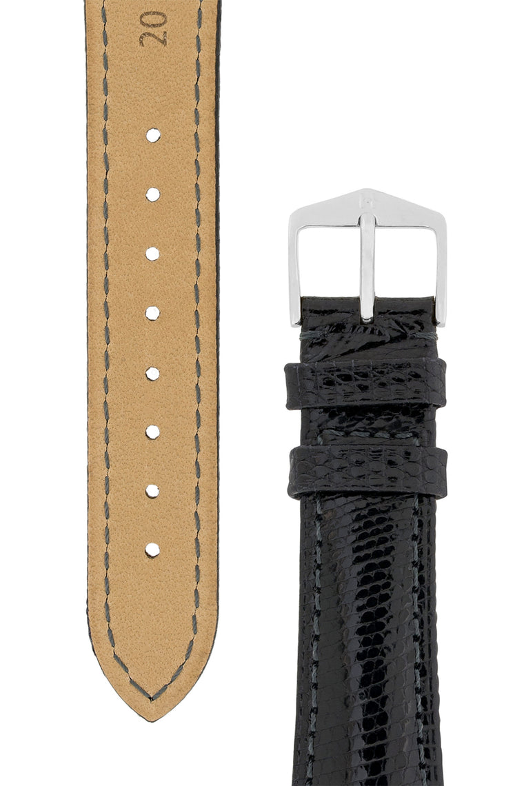 Hirsch LONDON Lizard Leather Watch Strap in BLACK
