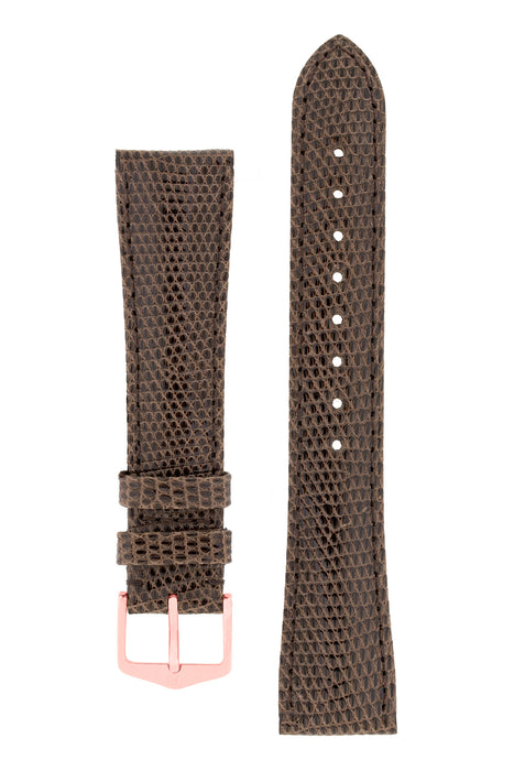 Hirsch LONDON Lizard Leather Watch Strap in BROWN