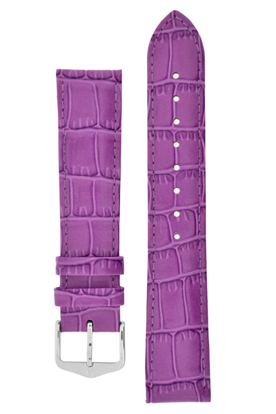 Hirsch LOUISIANALOOK Alligator Embossed Leather Watch Strap in FUCHSIA