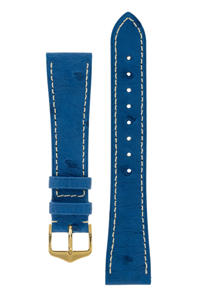 Hirsch MASSAI OSTRICH Leather Watch Strap in ROYAL BLUE With WHITE Stitching