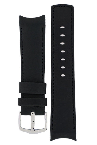 Hirsch Medici curved ended leather watch strap in black