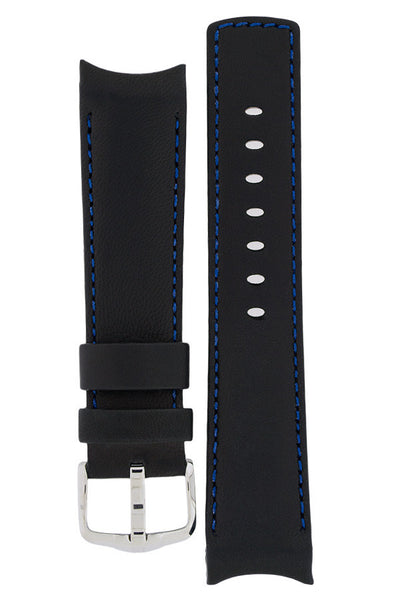 Hirsch Medici curved ended leather watch strap in black with blue stitching