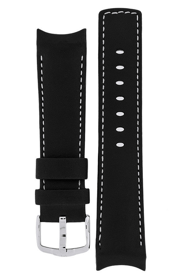 Hirsch Medici curved ended leather watch strap in black with ivory stitching