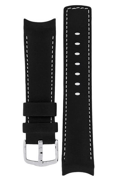 Hirsch MEDICI Leather Watch Strap in BLACK with IVORY Stitching
