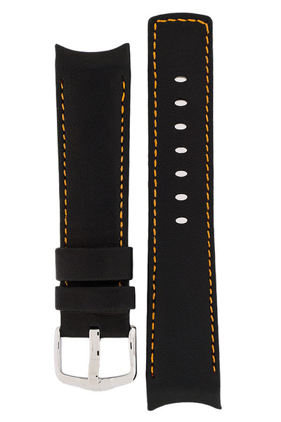 Hirsch Medici curved ended leather watch strap in black with orange stitching