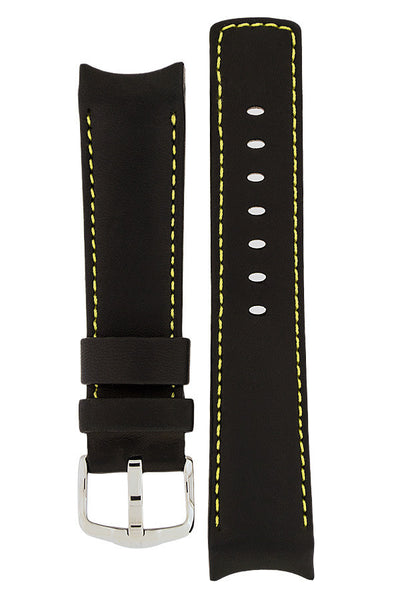 Hirsch Medici curved ended leather watch strap in black with yellow stitching