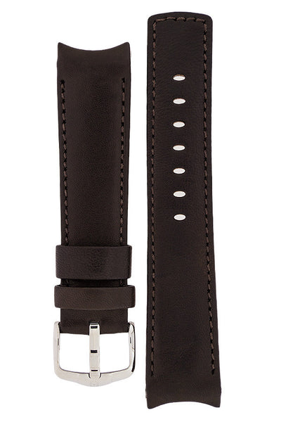 Hirsch Medici curved ended leather watch strap in brown