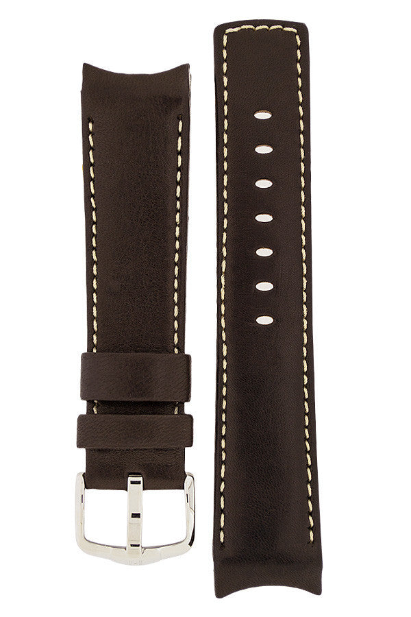 Hirsch Medici curved ended leather watch strap in brown with ivory stitching