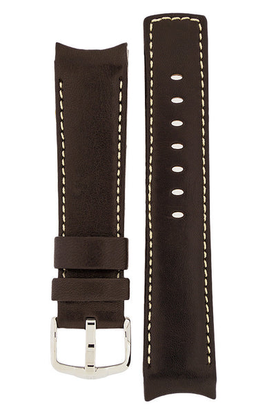 Hirsch MEDICI Leather Watch Strap in BROWN with IVORY Stitching