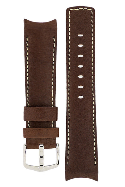 Hirsch MEDICI Leather Watch Strap in GOLD BROWN with IVORY Stitching
