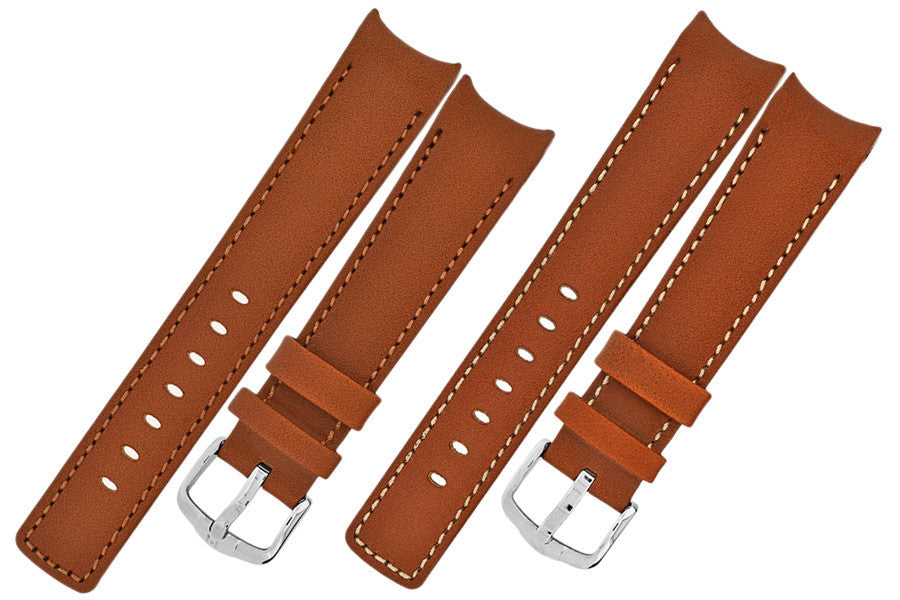 Hirsch MEDICI RUGBY Calf Leather Watch Strap in GOLD BROWN
