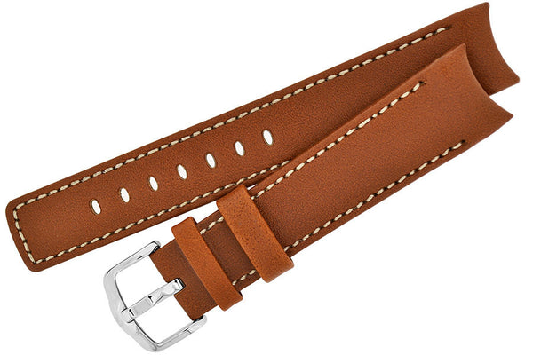 Hirsch MEDICI RUGBY Calf Leather Watch Strap in GOLD BROWN / IVORY
