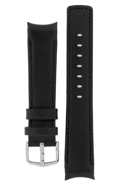 Hirsch Mobile curved ended leather watch strap in black