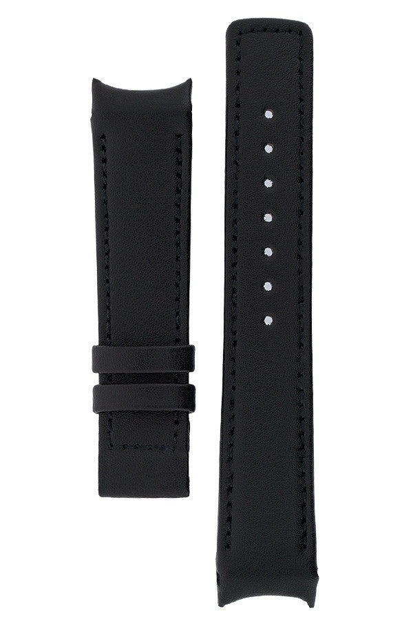 Hirsch OEM Heavy Calf Deployment Curved Watch Strap in BLACK