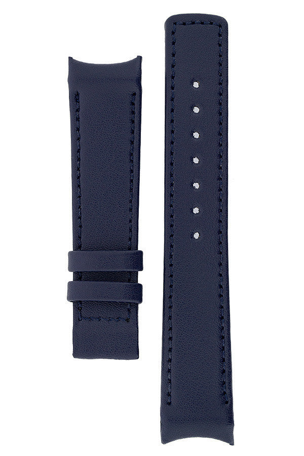 Hirsch OEM Heavy Calf curved ended watch strap in blue