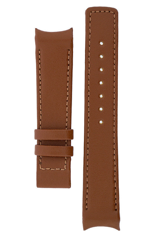 Hirsch OEM Heavy Calf Deployment Curved Watch Strap in GOLD BROWN
