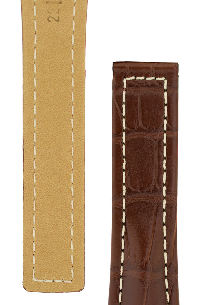 Hirsch NAVIGATOR Alligator Deployment Watch Strap in BROWN