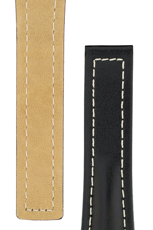 Hirsch NAVIGATOR Calfskin Leather Deployment Watch Strap in BLACK