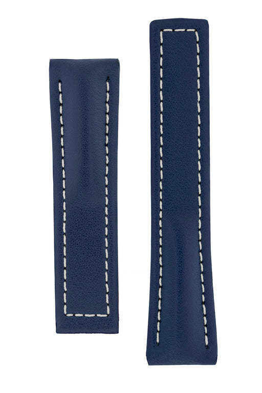 Hirsch NAVIGATOR Calfskin Leather Deployment Watch Strap in BLUE