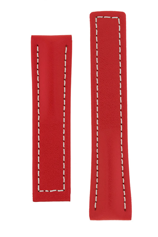 Hirsch NAVIGATOR Calfskin Leather Deployment Watch Strap in RED