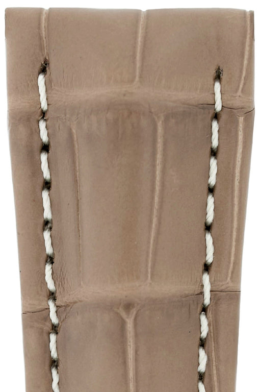 Hirsch NAVIGATOR Alligator Deployment Watch Strap in BEIGE