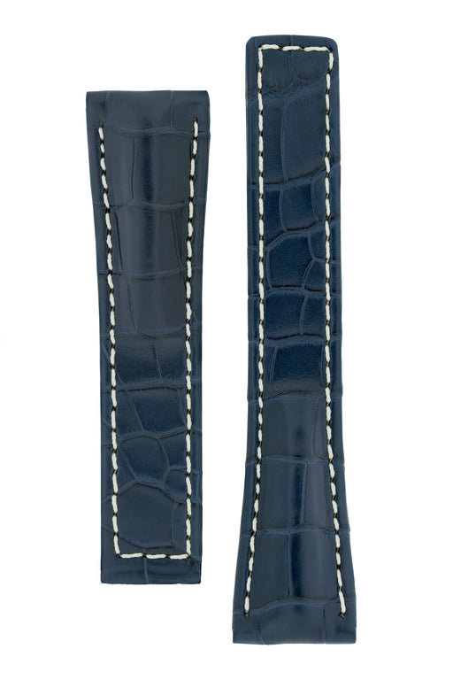 Hirsch NAVIGATOR Alligator Deployment Watch Strap in BLUE
