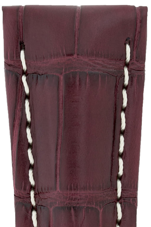 Hirsch NAVIGATOR Alligator Deployment Watch Strap in BURGUNDY