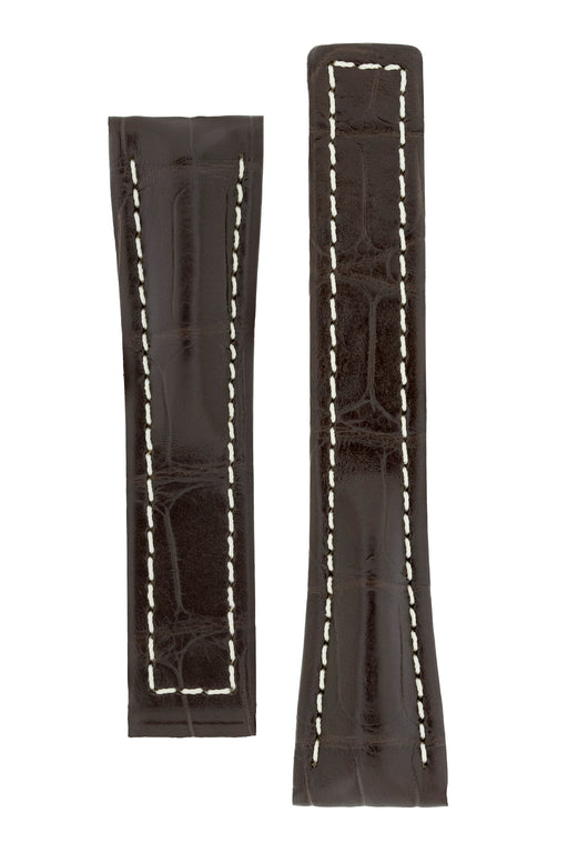 Hirsch NAVIGATOR Alligator Deployment Watch Strap in DARK BROWN
