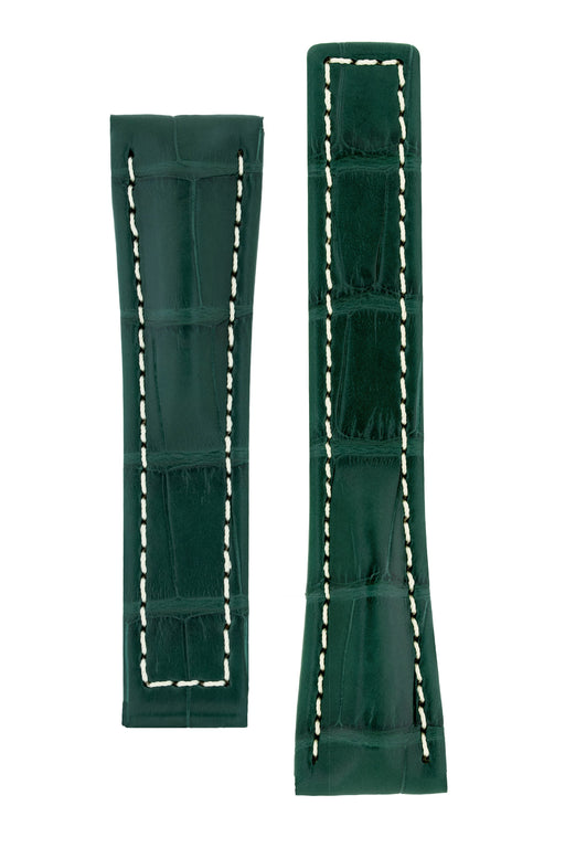 Hirsch NAVIGATOR Alligator Deployment Watch Strap in DARK GREEN