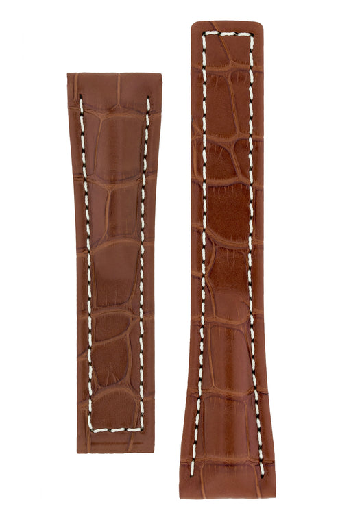 Hirsch NAVIGATOR Alligator Deployment Watch Strap in GOLD BROWN
