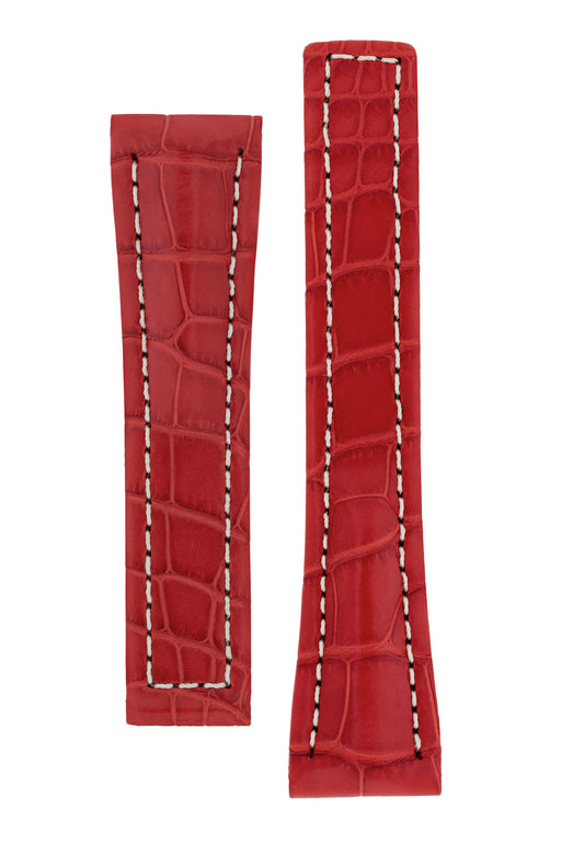 Hirsch NAVIGATOR Alligator Deployment Watch Strap in RED