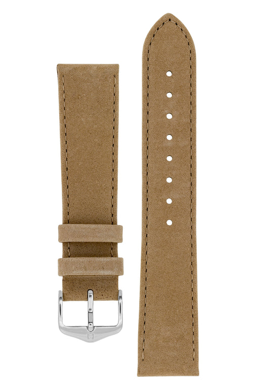Hirsch OSIRIS Calf Leather with Nubuck Effect Watch Strap in BEIGE