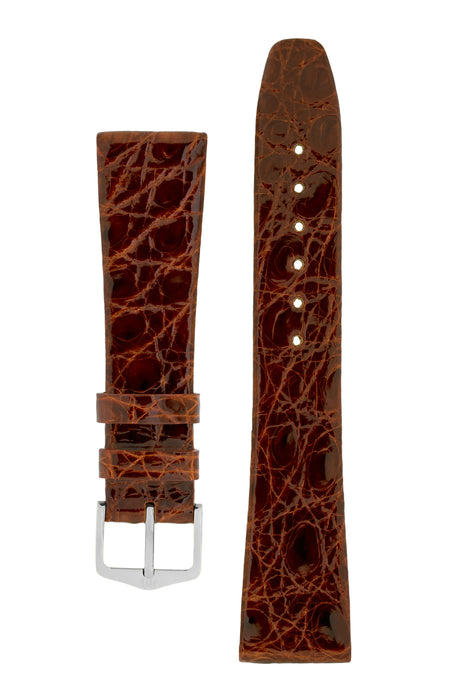 Hirsch PRESTIGE Shiny Genuine Crocodile Leather Watch Strap in GOLD BROWN