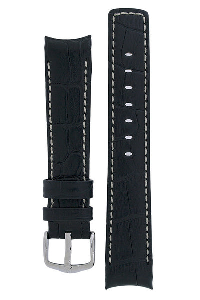 Hirsch PRINCIPAL Curved End Leather Watch Strap in BLACK with IVORY Stitching