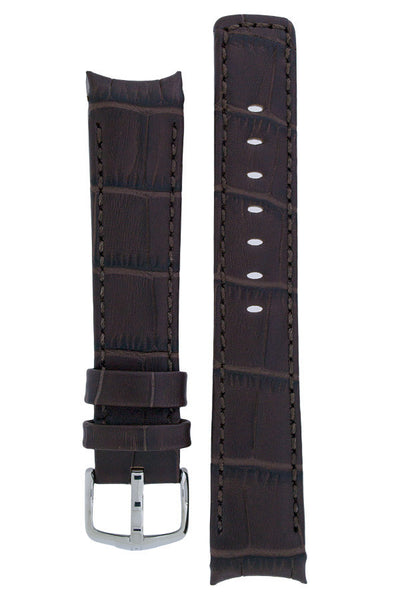 Hirsch Principal curved ended leather watch strap in brown