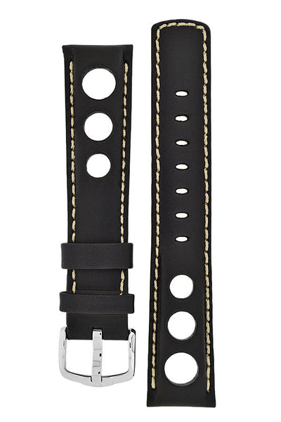 Hirsch RALLY Leather Watch Strap in BLACK