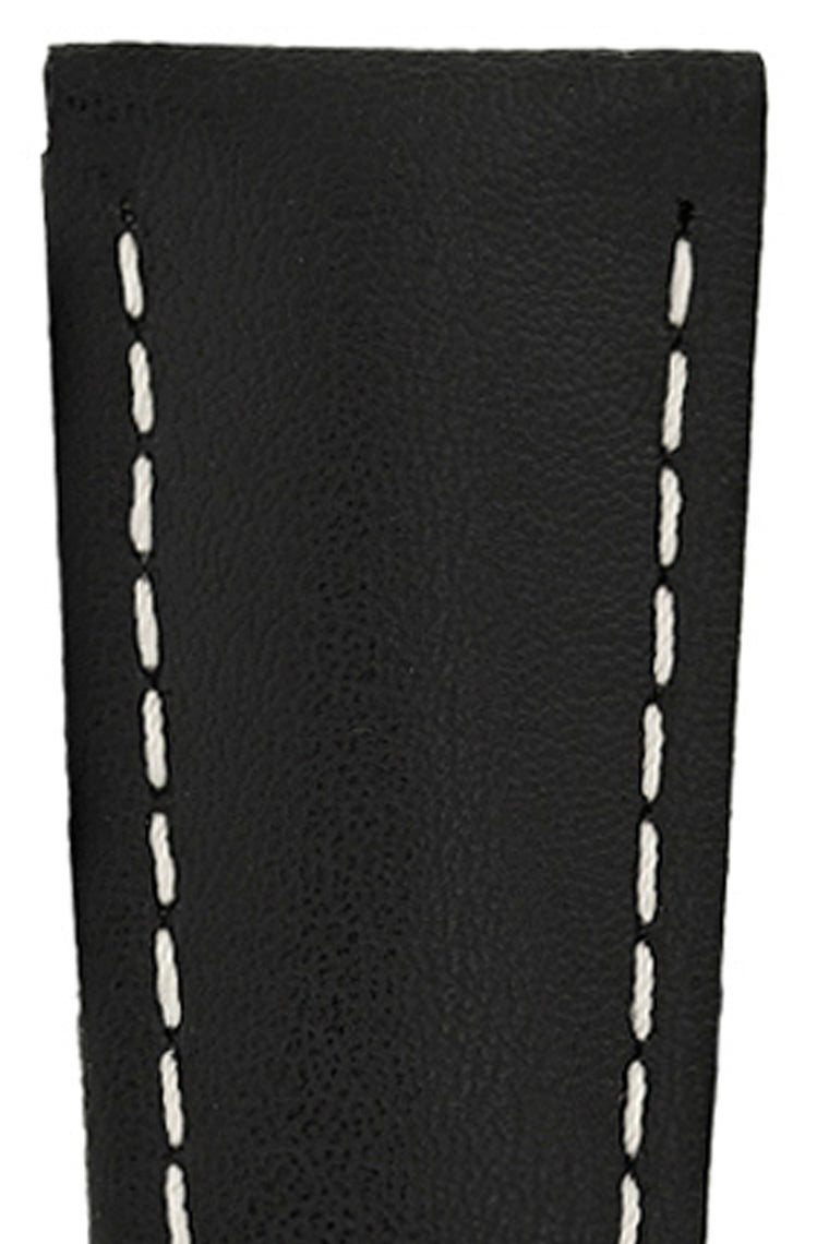 Hirsch SPEED Calfskin Deployment Watch Strap in BLACK/WHITE