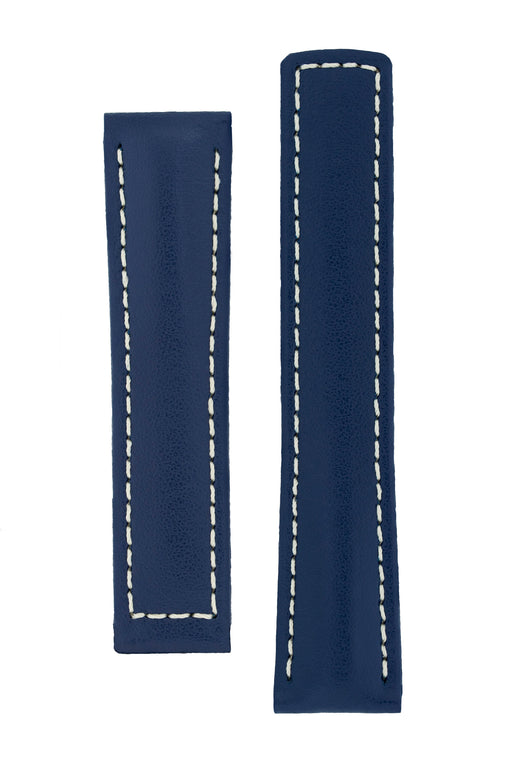 Hirsch SPEED Calfskin Deployment Watch Strap in BLUE/WHITE