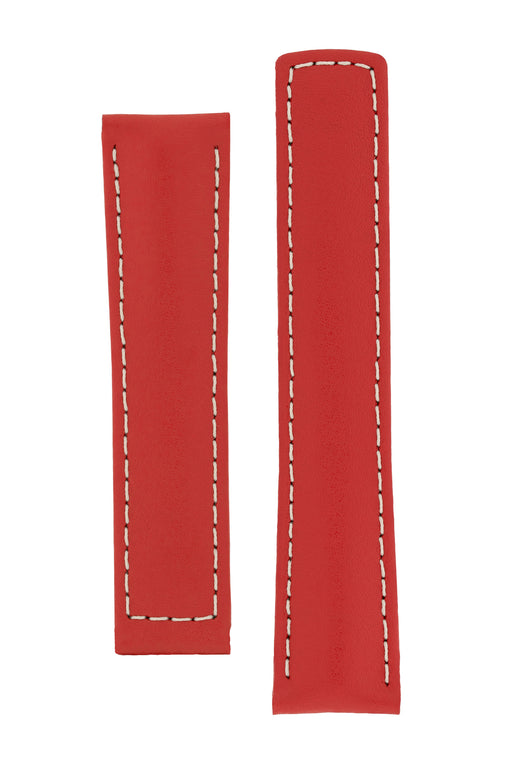 Hirsch SPEED Calfskin Deployment Watch Strap in RED/WHITE