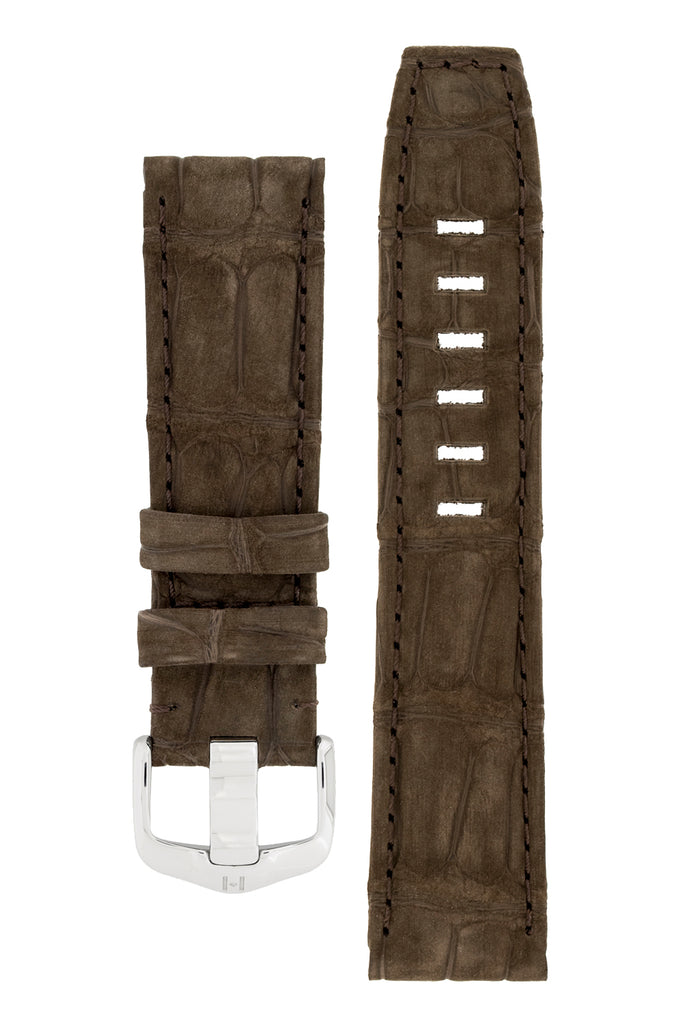Hirsch TRITONE Nubuck Alligator Leather Watch Strap in BROWN