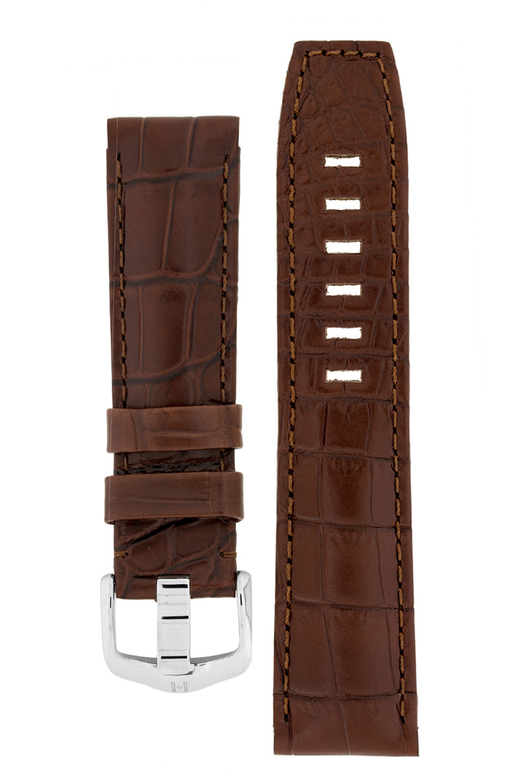Hirsch TRITONE Padded Crocodile Leather Watch Strap in BROWN