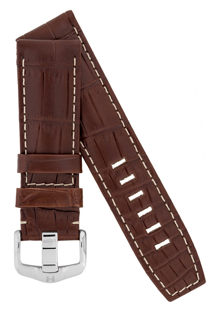 Hirsch TRITONE Padded Crocodile Leather Watch Strap in BROWN With WHITE Stitching
