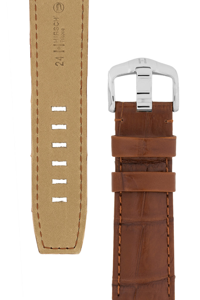 Hirsch TRITONE Padded Crocodile Leather Watch Strap in GOLD BROWN