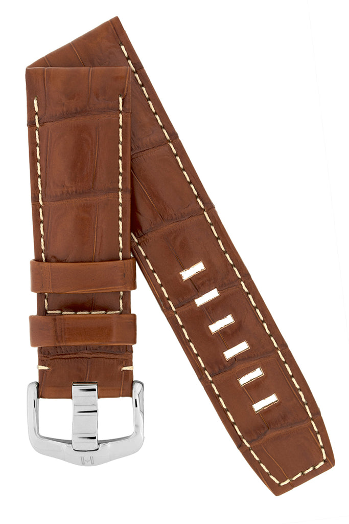 Hirsch TRITONE Padded Crocodile Leather Watch Strap in GOLD BROWN with WHITE Stitching