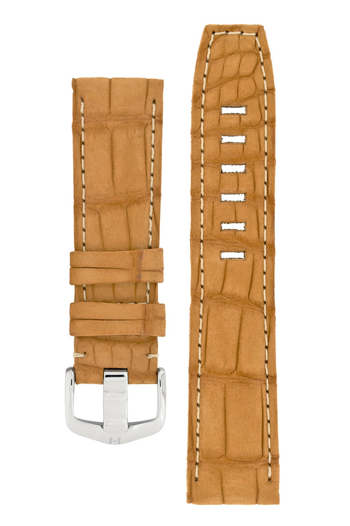 Hirsch TRITONE Nubuck Alligator Leather Watch Strap in GOLD BROWN With WHITE Stitching