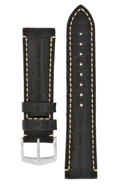 Hirsch VISCOUNT Water-Resistant Alligator Leather Watch Strap in BLACK