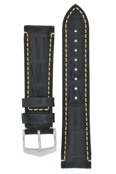 Hirsch VISCOUNT Water-Resistant Alligator Leather Watch Strap in BLUE