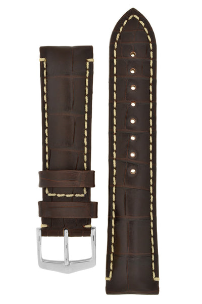 Hirsch VISCOUNT Water-Resistant Alligator Leather Watch Strap in BROWN